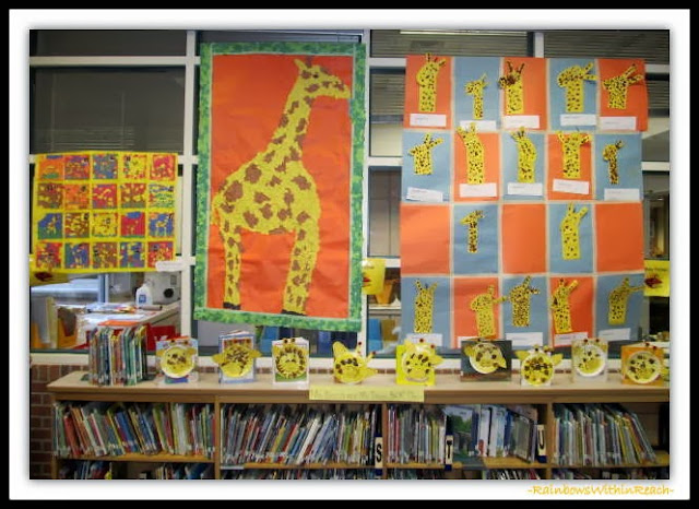 "Kindergarten artwork in response to ""Tall Giraffe"" picture book by Debbie Clement"