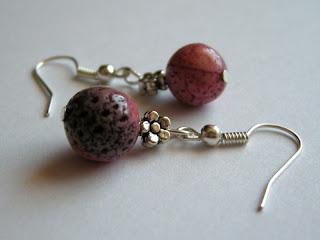biżuteria z półfabrykatów - koral wrzosowy (kolczyki)