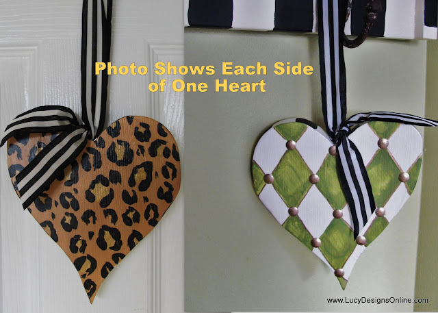 diamond and animal print heart ornament