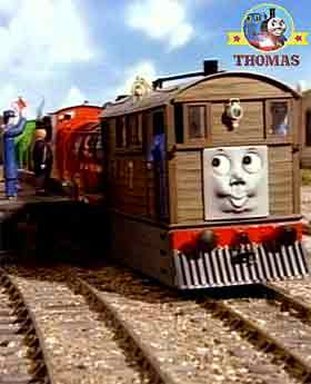 All Thomas the tank engine and friends James train could do was stand and watch Toby the tram engine