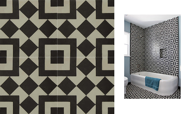 Granada Black and White Echo Collection Cement Tiles - bold patterned tile