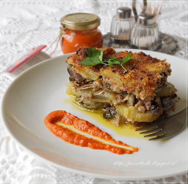 Sformato di carciofi, carne e patate