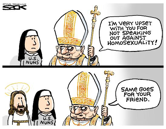Jesus In Love Blog Cartoon Shows Pope Mad At Nuns And