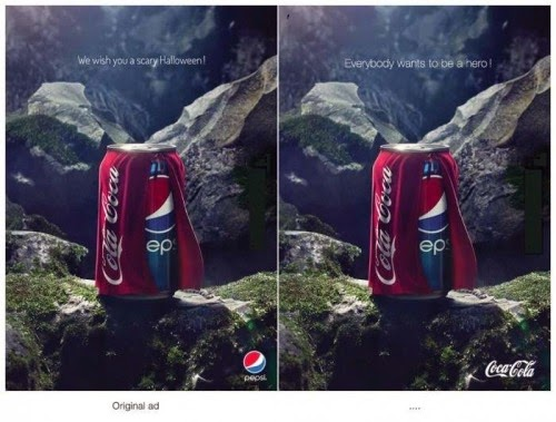 coca cola responds to pepsi advert