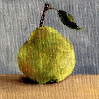 oil painting of green pear