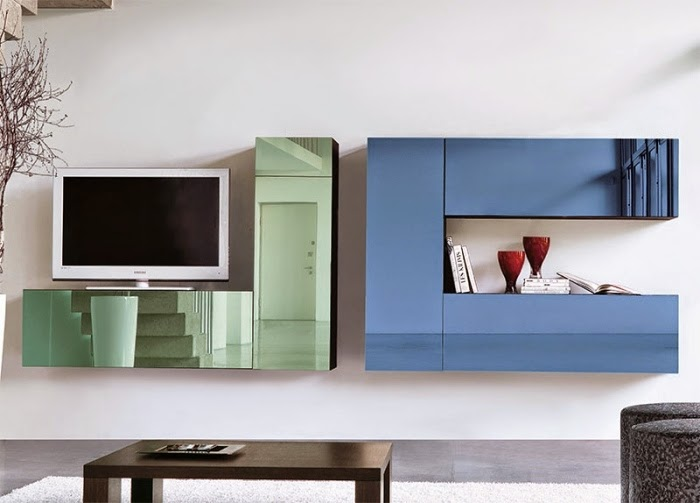 Ideas for wall unit designs with storage for small living for Living room unit designs