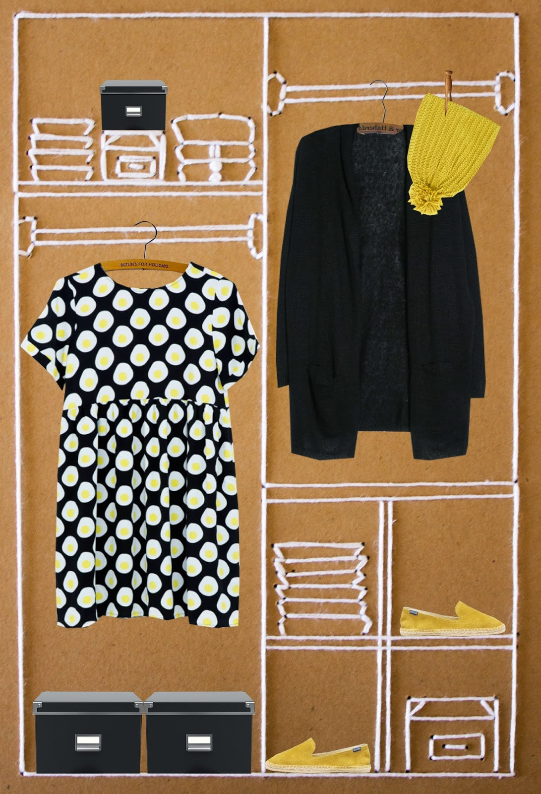 egg print dress, soludos espadrilles suede, pompom knit hat zara, mango oversized cardigan, mixed media art, fashion illustration, tlv birdie style blog
