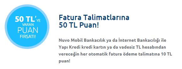 Nuvo'dan Fatura Talimatlarına 50 TL Puan