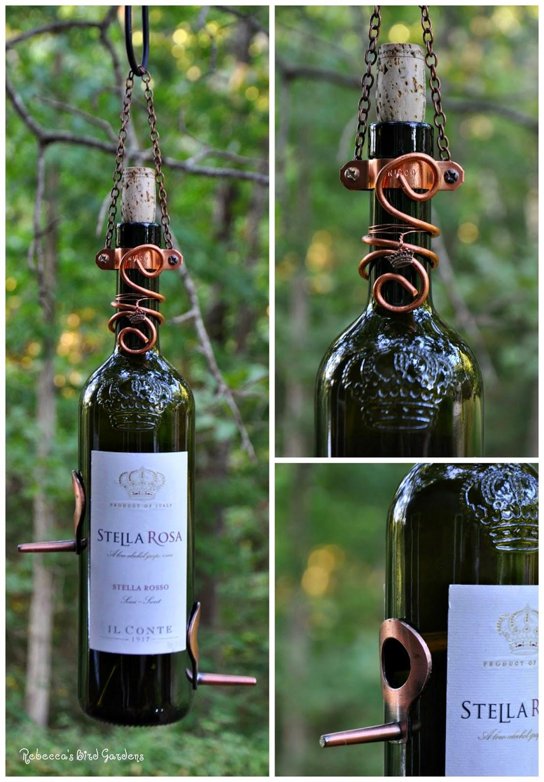 Rebecca 39 s bird gardens blog custom wine bottle bird feeders for How to build a birdhouse out of wine corks