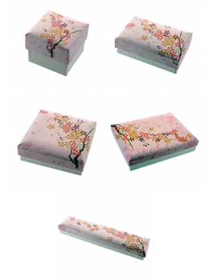 Cherry Blossoms Textured Printed Paper Jewelry Boxes