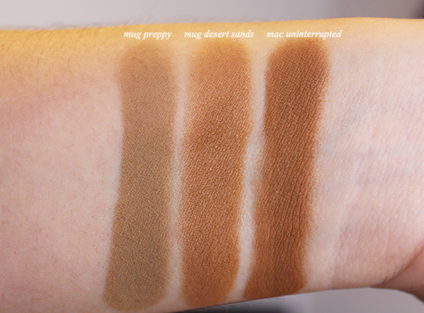 makeup geek desert sands mac uninterrupted eyeshadow dupes preppy swatch comparison review