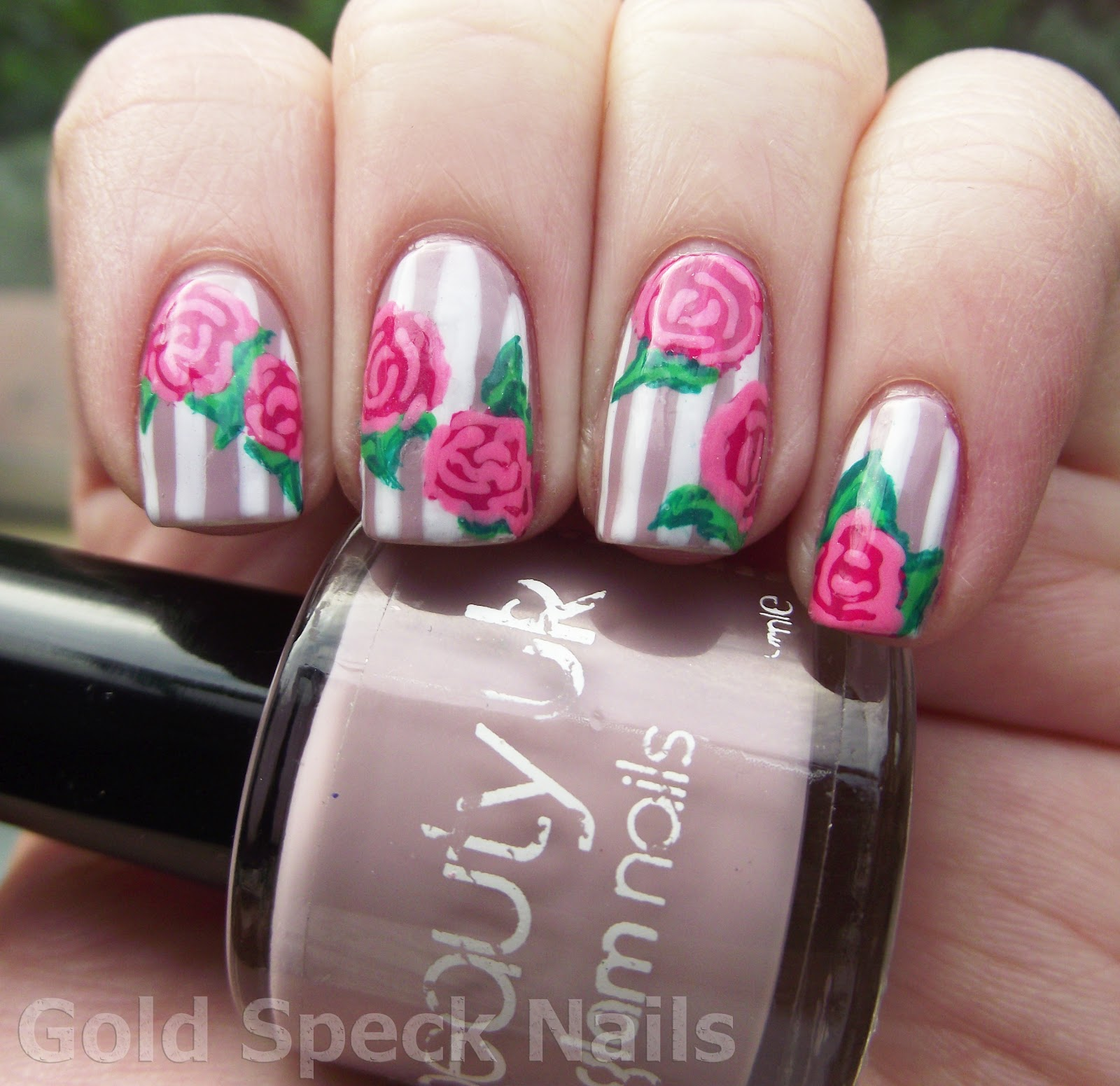 Gold Speck Nails: Stripes & Flowers