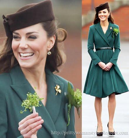 Кейт Мидълтън в зелено палто за Св. Патрик