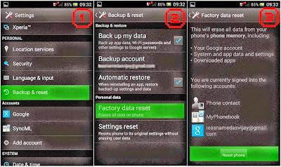 Hard Reset Sony Xperia acro S using menu