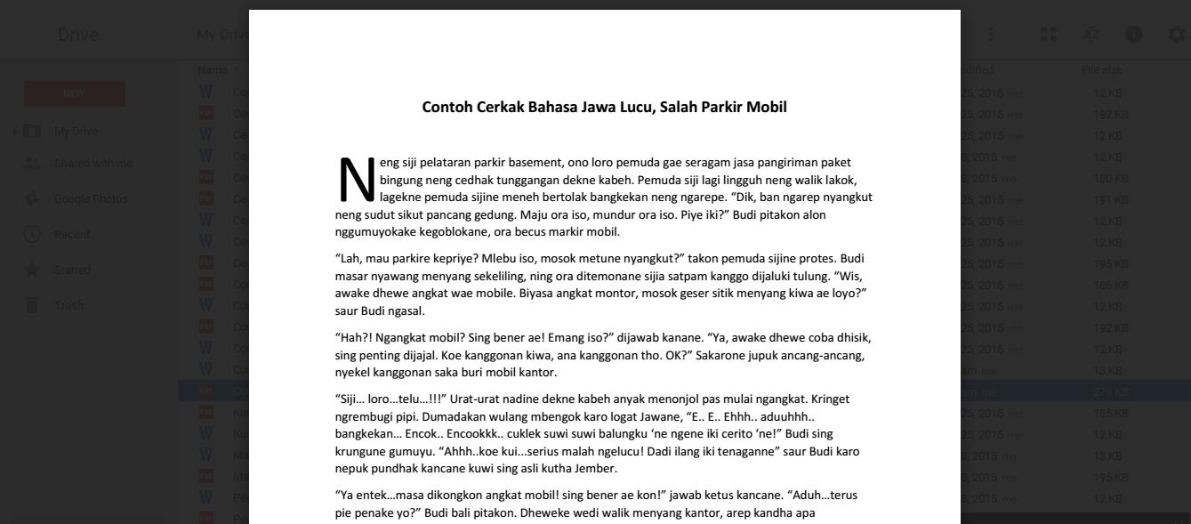 Download Contoh Cerkak Bahasa Jawa Lucu PDF dan WORD