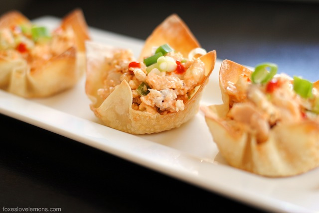 Buffalo Chicken Salad Wonton Cup Appetizers