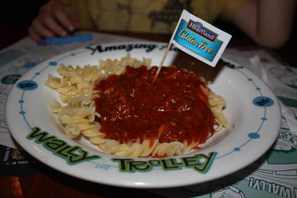 Child portion of GF pasta with dairy free rich meat sauce. I thought ...