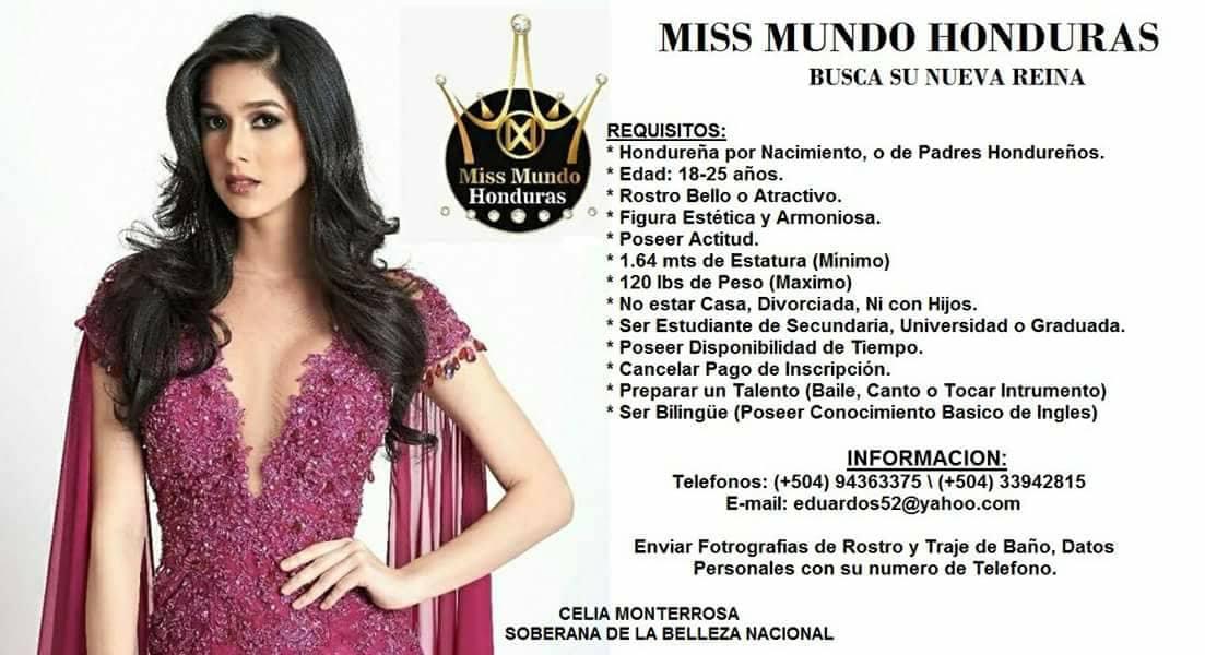 ¿Quieres ser Miss Mundo Honduras 2018?