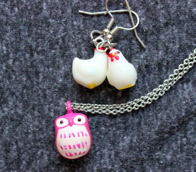 owl necklace chicken earrings