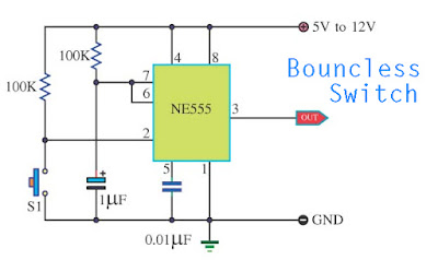 Bouncless Switch with NE555 Circuit Diagram