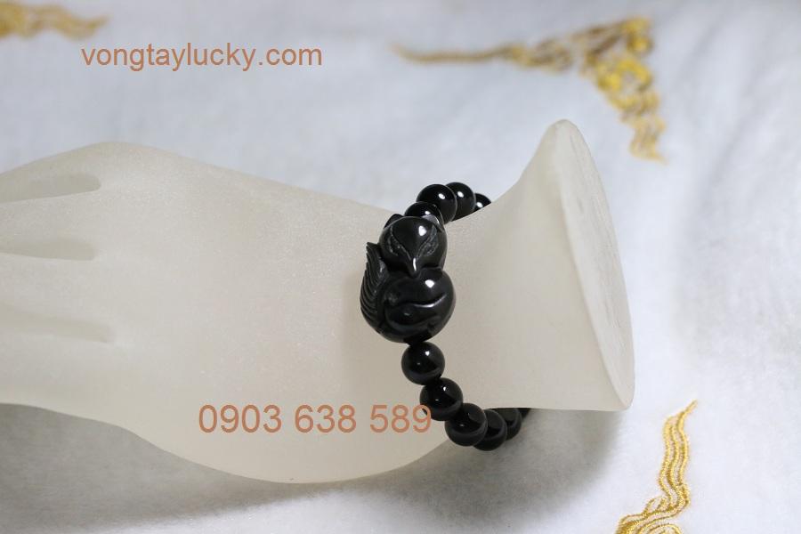 Vòng tay hồ ly 9 đuôi đá Obsidian thiên nhiên phong thủy mạnh