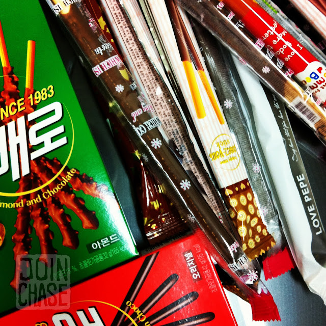 Boxes of Pepero for Pepero Day in South Korea.