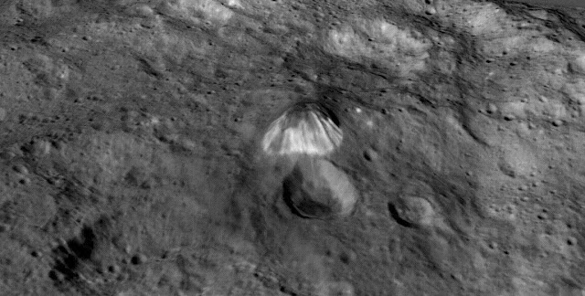 Among the highest features seen on Ceres so far is a mountain about 4 miles (6 kilometers) high, which is roughly the elevation of Mount McKinley in Alaska's Denali National Park. Image Credit: NASA/JPL-Caltech/UCLA/MPS/DLR/IDA/LPI