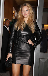 Bar Refaeli strikes a pose in leather outfit