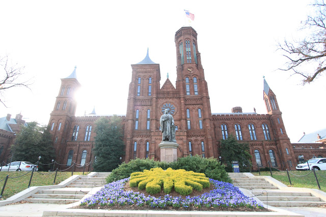 Smithsonian Castle is located on the National Mall in Washington DC, USA