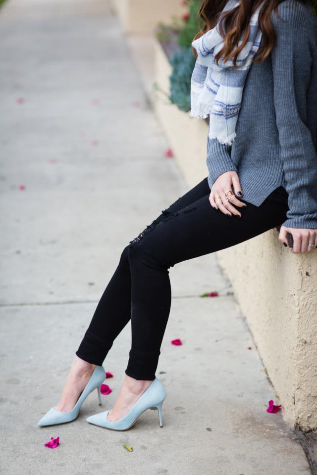 black distressed jeans and j.crew mint elsie heels M Loves M @marmar
