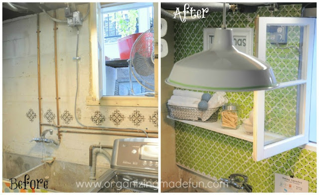 Before and After of basement pipes covered up with pegboard :: OrganizingMadeFun.com