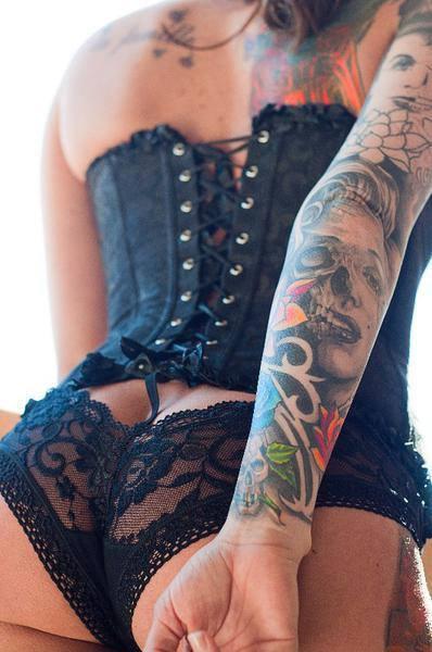 Girl Skull Elbow Tattoo