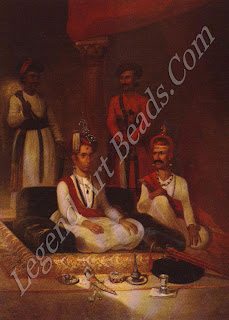 The Maratha Peshwa, Madhu Rao Narayan, in 1792. The artist, lames Wales, has highlighted the richness of the royal jewels, among them turban ornaments of table-cut diamonds set in gold and a magnificent pearl turra.