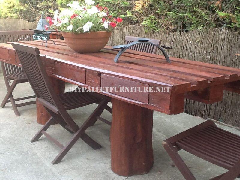 Mesa para el jard n r stica - Mesas de palets para jardin ...