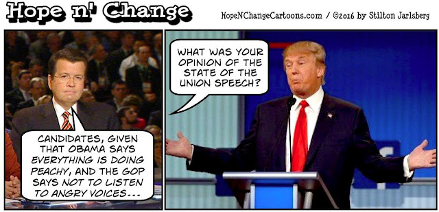 obama, obama jokes, political, humor, cartoon, conservative, hope n' change, hope and change, stilton jarlsberg, GOP, debate