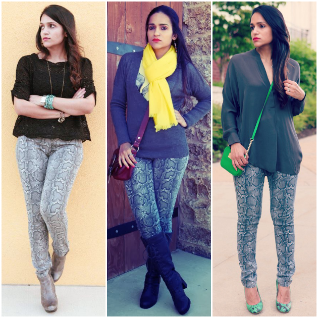 Three Ways To Style Snake Print Jeans, Tanvii.com