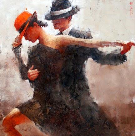 casal dançando - pintura