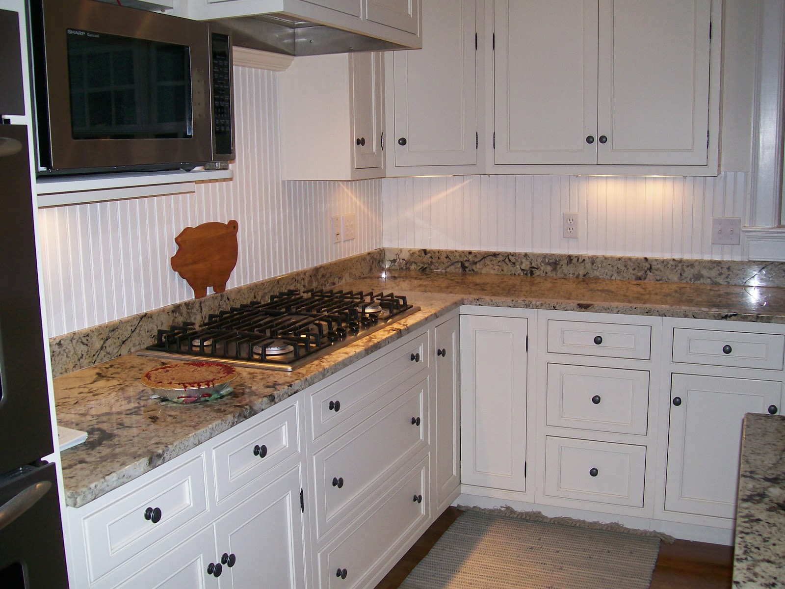 Kitchen with Beadboard as Backsplash