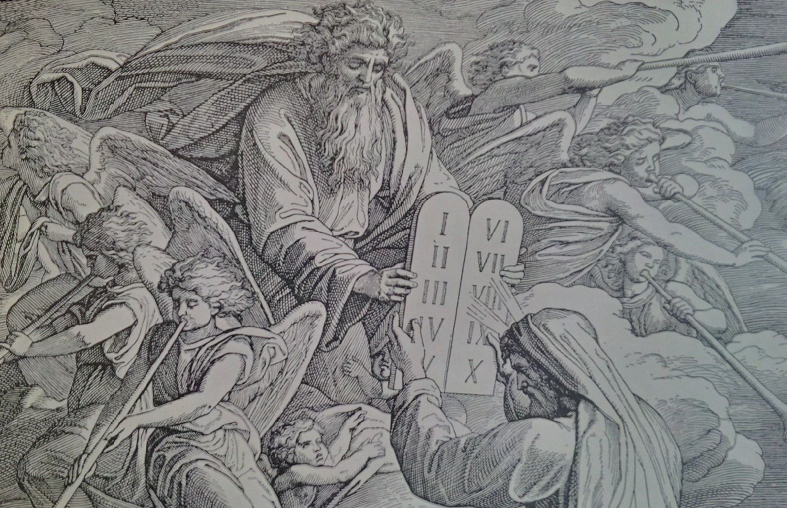 Moses - Illustration in einer alten Familienbibel
