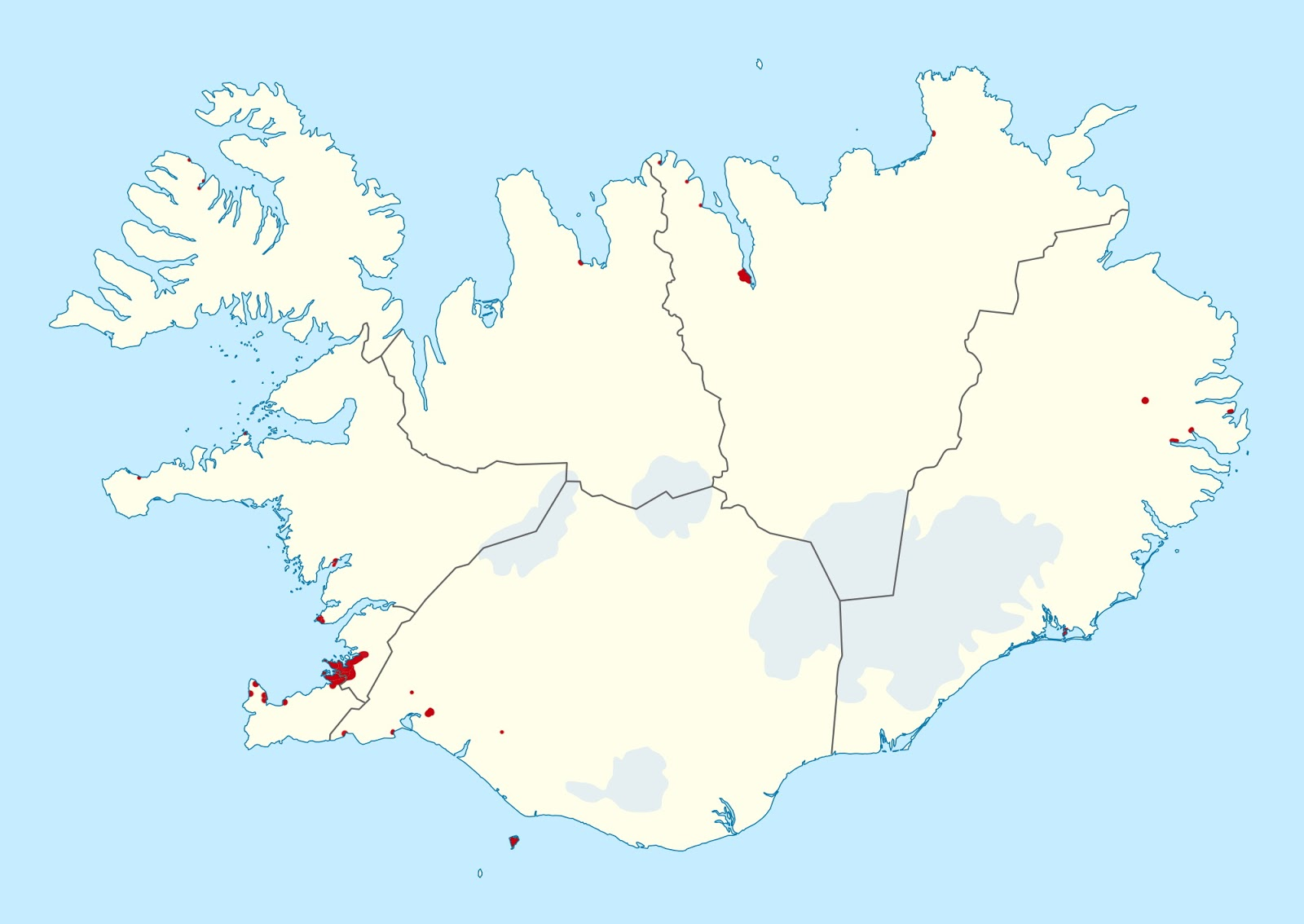 90% of the population of Iceland lives in the red area