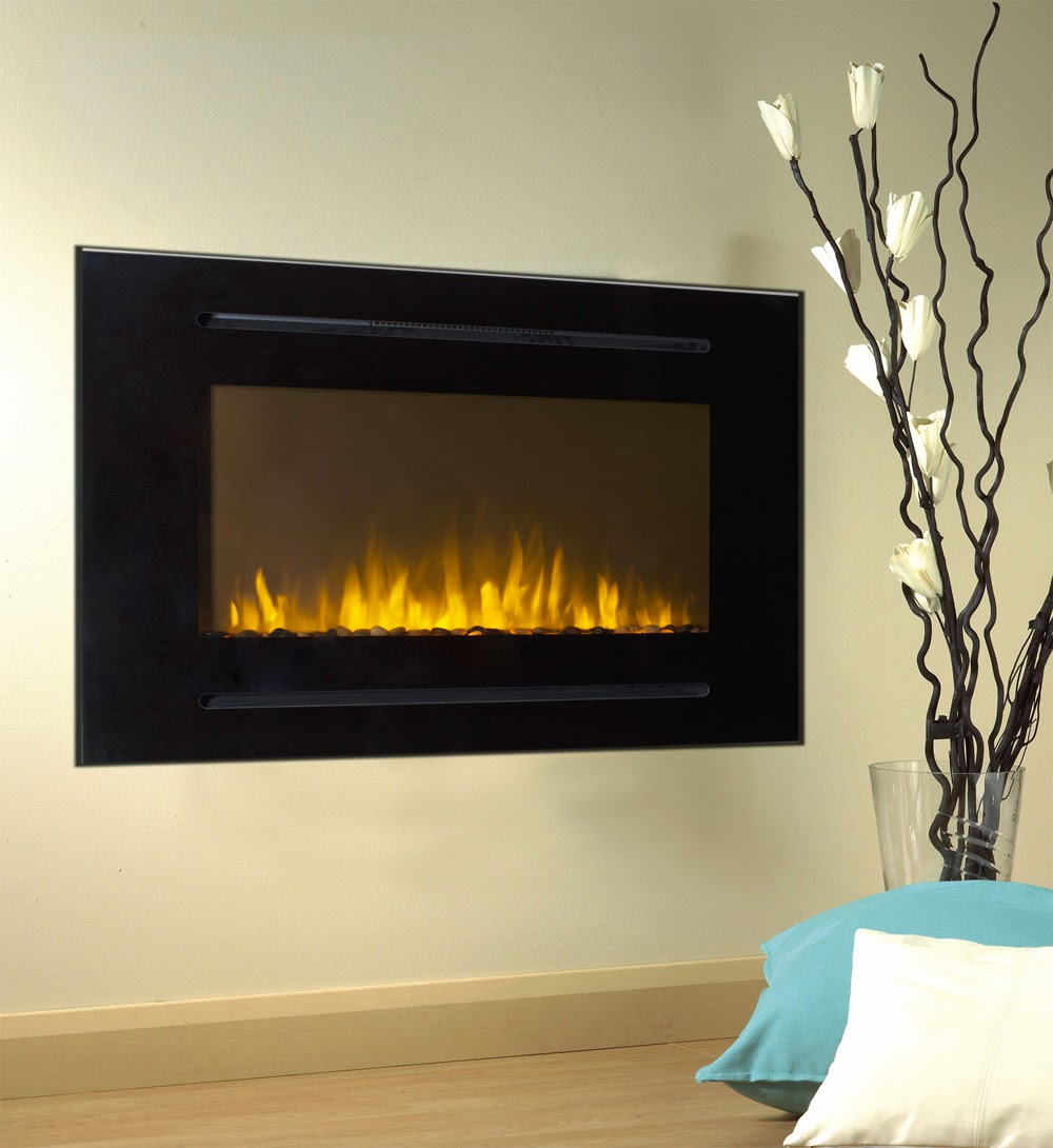 The Touchstone Home Products Forte Electric Fireplace can be wall mounted or used in a recessed wall.