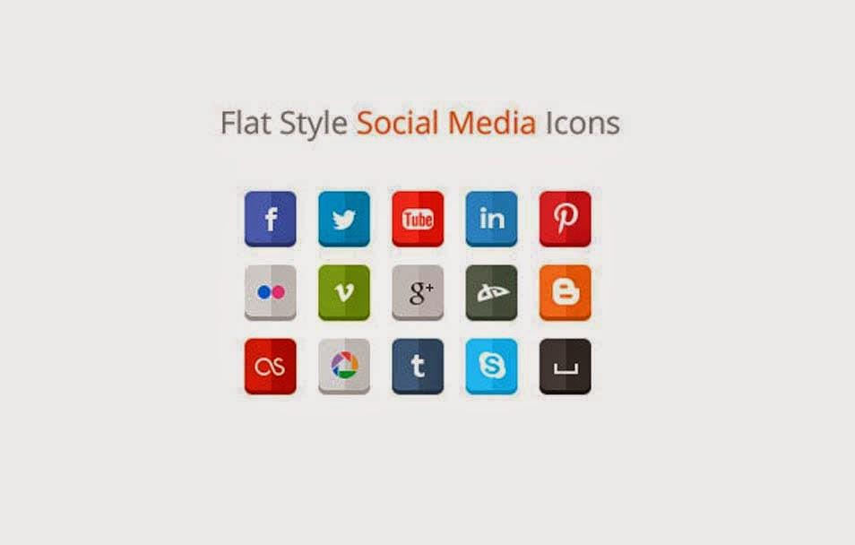 Clean Flat Social Media Icons