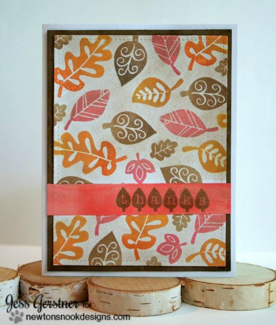 Fall Leaves Card by Jess Gerstner | Falling into Autumn Stamp set by Newton's Nook Designs #fall #leaves #newtonsook