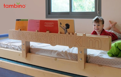 bed rail that's also a bookshelf