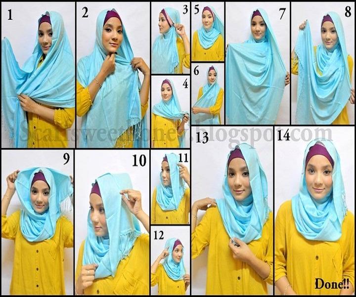 Tutorial dan gambar cara memakai jilbab hijab modern gaul segiempat segi empat