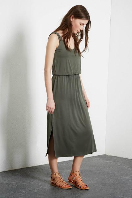 warehouse khaki dress, khaki midi dress,