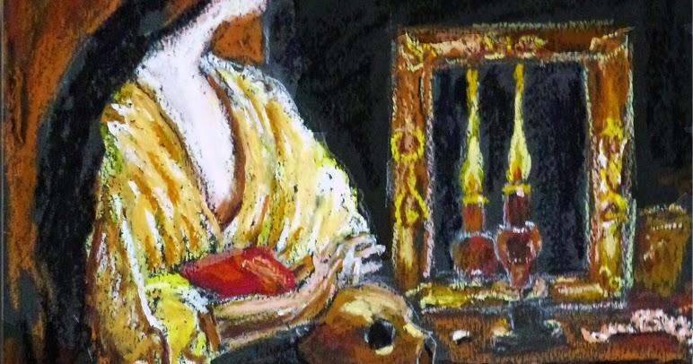 Art de vivre la peinture de peintrefiguratif portrait pastel gras marie madeleine reproduction for Peinture pastel gras
