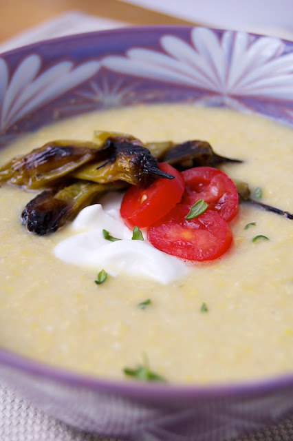 Chilled Corn Soup with Seared Peppers | www.kettlercuisine.com