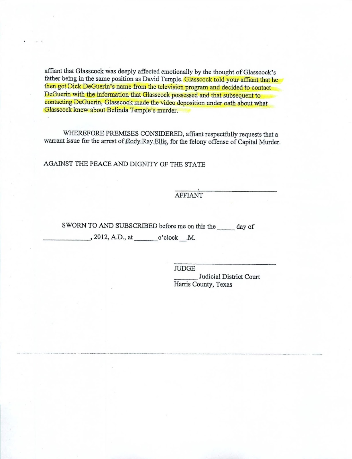 174th district court case 1430835 - So To Summarize Glasscock An Ex Criminal Per The Warrant Didn T Know About The Murder For Twelve Years Sees A Tv Show Remembers An Obscure