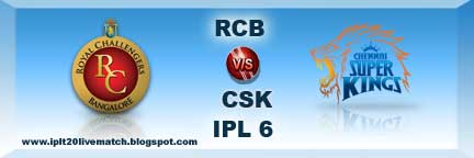 IPL 6 RCB vs CSK Full Scorecards and Highlight IPL 6 Point Table